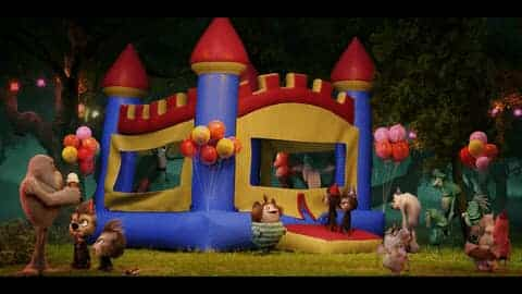 A colorful, child's inflatable castle